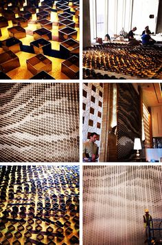 Our Bespoke project with Giles Miller Studio -a breathtaking new installation for Kempinski Hotel Mall of the Emirates.   Approximately 5000 brass gold boxes of varying depth and transparency were hung down the wall. Viewed from afar, a pattern inspired by the UAE's undulating sand dunes emerges.