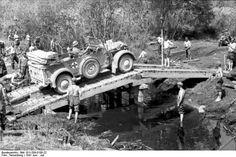 North-Russia, German  medical vehicle on bridge. June 1941