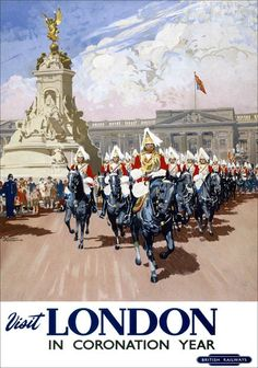 Poster British Railways 'London' depicting Horse Guards by Bordon Nicholl double royal x Published by British Railways Western Region and printed by Waterlow & Sons. Posters Uk, Train Posters, Railway Posters, Illustrations And Posters, Poster Prints, Art Prints, Horse Posters, Vintage Illustrations, Framed Prints