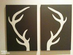 DIY deer antler canvas... @Misty Gabriel here's another take on modern antlers