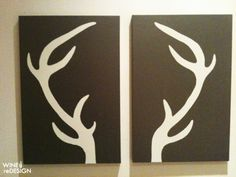 DIY deer antler canvas... @Misty Gabriel here's another take on modern antlers