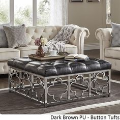 Solene Chrome Quatrefoil Base Square Ottoman Coffee Table by iNSPIRE Q Bold - On Sale - Overstock - 18594315 - Grey Linen - Button Tufts Square Ottoman Coffee Table, Ottoman Table, Furniture Deals, New Furniture, Living Room Furniture, Elegant Home Decor, Elegant Homes, Ottoman In Living Room, Quatrefoil