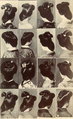 *okiya: Multi-view Postcard of Hairstyles worn by Osaka Geiko (1910) #traveling #holiday