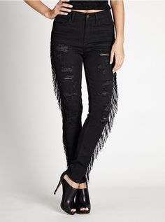 1981 High-Rise Fringe Skinny Jeans in Getaway Wash, From the quess originals Collection.