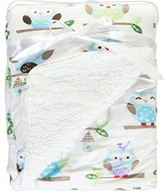 Honey Baby Plush Ultra Soft Coral Fleece Baby Blanket, 30 X 40 Inches (Hoot Hoot) - $9.99