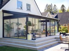 Indoor Outdoor Kitchen, Outdoor Rooms, House Extension Design, House Design, Beddinge, Garden Cabins, Chalet Design, Patio Enclosures, Glass Room