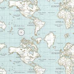 Tissu coton épais maps bleu   - Mondial Tissus