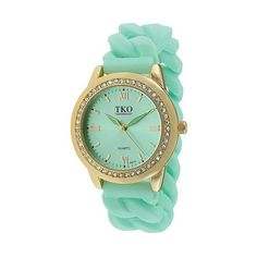 Women's TKO Rubber Chain Crystal Bezel Watch - Gold/Green, Green/Gold ($30) ❤ liked on Polyvore featuring jewelry, watches, green jewelry, yellow gold watches, gold jewellery, gold watches and crystal bezel watches