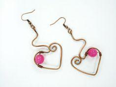 Handmade earrings heart earrings wire by MargoHandmadeJewelry
