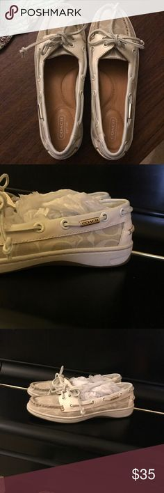 ❌SOLD❌ Authentic Coach Shoes Cream and tan colored Coach deck shoes. Gently used. Very comfortable! Coach Shoes Flats & Loafers