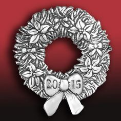 2015 Hand and Hammer Annual Wreath Sterling Silver Christmas Ornament Find at: http://www.silversuperstore.com/hand-hammer/annual-wreath-silver-ornament.html