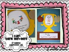 """This """"I Can Think Win-Win"""" Craftivity is meant to be used with the book """"The 7 Habits of Happy Kids"""" by Sean Covey to help students learn how to T. Covey Habits, 7 Habits, Healthy Habits, Life Skills Lessons, School Leadership, Student Behavior, Leader In Me, Character Education, Physical Education"""