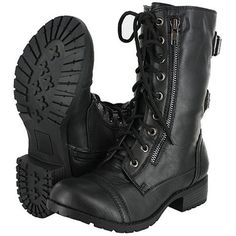 Top Moda Pack-72 Black Military Lace up Mid Calf Combat Boot ($30) ❤ liked on Polyvore featuring shoes, boots, black boots, mid-calf boots, laced boots, black lace up boots and military fashion