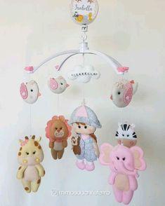Felt Animal Patterns, Felt Crafts Patterns, Baby Crafts, Crafts For Kids, Felt Name Banner, Baby Shower Deco, Baby Room Diy, Rainbow Nursery, Baby Mobile