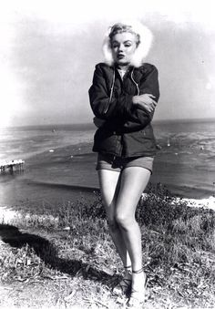 Chilly Seaside Publicity Shot Of Marilyn Monroe.