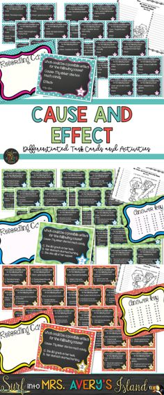 These cause and effect activities are perfect for increasing reading comprehension skills. Differentiated to meet the needs of first, second, and third graders, these engaging task cards are perfect for RTI lessons, literacy centers, Daily 5, whole group lessons, ELL/ESL lesson plans.