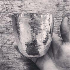 In the making, silver vessel hand raised by Rachel Jones www.rachel-jones.com