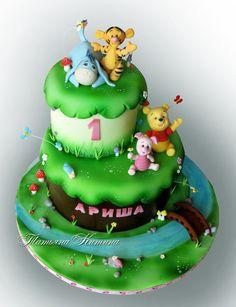 Winnie The Pooh Cake, Winnie The Pooh Friends, Disney Winnie The Pooh, 1st Birthdays, 1st Birthday Parties, Birthday Cake, Friends Cake, Cake Pictures, Cake Pics
