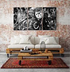 Angel Wings Stretched Canvas Art for Wall Industrial Engine Gears Canvas Print Set Unique Home Accessories, Wall Accessories, Unique Home Decor, Industrial Dining Sets, Industrial Wall Art, Modern Industrial, Industrial Design, Cheap Artwork, Loft Style Homes
