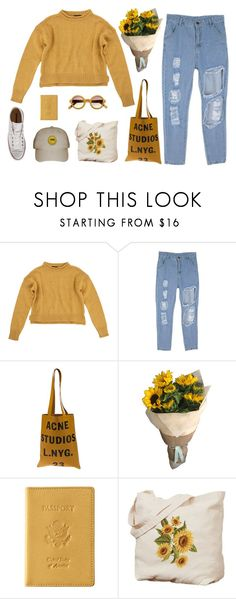 """art hoe series // 1"" by alkalicaroline ❤ liked on Polyvore featuring Topshop, Acne Studios, Royce Leather, Converse and carolinesarthoeseries"