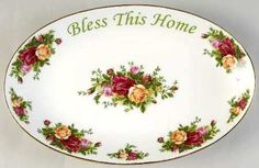 """Royal Albert OLD COUNTRY ROSES 12"""" Bless This House Platter"""