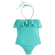 J.Crew Gingham Ruffle Bandeau One-Piece Swimsuit (6,785 DOP) ❤ liked on Polyvore featuring swimwear, one-piece swimsuits, halter one piece swimsuit, halter swimsuit, one piece swimsuit, swim suits and one piece bathing suits