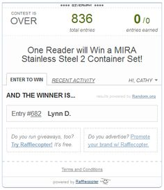 GIVEAWAY WINNER $$ Winner of the MIRA Stainless Steel 2 Container Set Giveaway is…