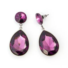 Stunning statement earrings available in a range of colourful Swarovski crystal combinations to express your individual style. These earrings are long with a focal pear shaped stone hanging from a classic disc. Statement Earrings, Pearl Earrings, Drop Earrings, Pear Drops, Races Fashion, Pear Shaped, Swarovski Crystals, Amethyst, Bling
