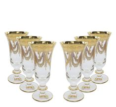 """This Italian Made Glassware is made of high quality crystal with use of the """"true engraving"""" technology. Hand-modeled glasses are solely hand-decorated with brushes to create a truly unique design, making them highly noticeable in front of mass produced machine-made competition. Engraved with bright gold and quality-controlled at every phase, this set will be an absolutely beautiful addition to your premium drink-ware collection. Comes in gift packaging and makes an impressive gift that will… Champagne, Vintage Designs, Plating, Italy, Crystals, Glasses, Luxury, Gold, Gift Packaging"""