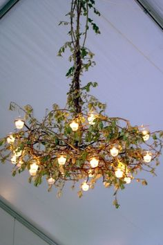 Faux greenery garlands, strand lighting, florist's tape.  Cost: $8