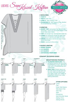 The Sunkissed Kaftan sewing pattern by Pattern Emporium is a V-neck kaftan with four neckline depths and five lengths.