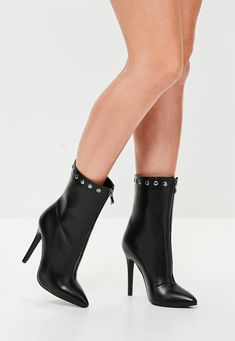 65c60a6e4 Missyempire - Daphne Champagne Satin Knee High Heeled Boots. See more.  Missguided - Black Dome Faux Leather Pointed Ankle Boots Pointed Ankle Boots,  Thigh ...
