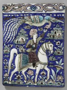 Persian Tile with Horseman Feeding Simurgh (c. 1860) - Molded and glazed fritware  - Harvard Art Museums