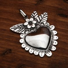 Milagro+Blooming+Heart+Pendant+Medallion+2.0in+by+QUETZALboutique,+$178.00