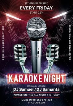 Karaoke Night Psd Flyer Template  Diy ELiquid    Psd