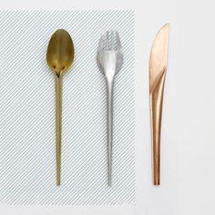 Studio Wieki Somers' prototype cutlery is made from rolled steel, brass and copper. The collection is produced by Valerie Objects