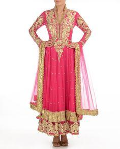 Fuchsia Anarkali Suit with Gota Patti - Buy Preeti S. Kapoor Online | Exclusively.in Shop Online | Indian Bridal Wear | Wedding Wear