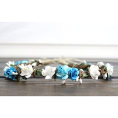 Flower Headband, Wedding, Flower Crown, Aqua Flower Crown, White,... ($35) ❤ liked on Polyvore