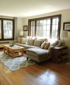 Oh my gosh... this is my livingroom once I tear up carpet. Layout, windows, trim, and everything. how weird.