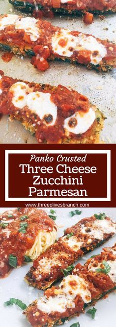 Vegetarian zucchini parm uses three cheeses and a crunchy panko breadcrumb crust to make an amazing alternative to chicken parmesan. Great for weekend meals and finding new ways to use vegetables.