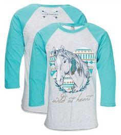 Southern Couture Lightheart Wild at Heart Aztec Horse Girlie Raglan Long Sleeve Bright T Shirt