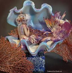 OOAK SEASHELL PIN UP MERMAID SEA SIREN SCULPTURE ART DOLL BY JENNIFER SUTHERLAND