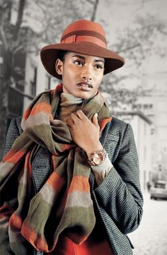 Remi & Reid Ombre Striped Scarf & Nordstrom Two-tone Fedora #Nordstrom #AugustCatalog