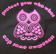 Hot Pink Owl Screenprint & Breast Cancer by CopSomeAwareness, $20.00  #copsomeawareness #breastcancer #awareness