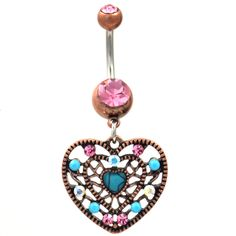 BodyDazz.com - Vintage Filigree Heart Turquoise/Pink Belly Ring