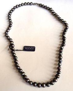 Sterling Silver Pearl Necklace Black Blue Freshwater Pearls 18-20 inch USASeller #Unbranded #StrandString