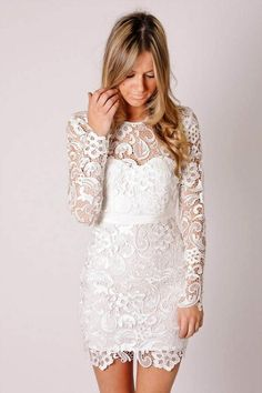 Discount CustomShort White Lace Prom Dreses With Long Sleeves Sheath Screw Neck White Cheap Short Lace Party Dresses Evening Wedding Bridal Gowns Online with $93.2/Piece | DHgate