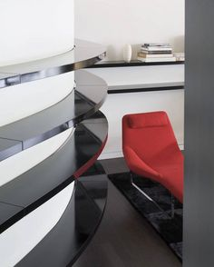 Architecture : Beautiful Curved House Interior In Home Office Design With Red Chair Furniture In Modern Style Completed With Modern Wall Shelving Furniture Cozy Curved Contemporary Home Design by Hufft Projects