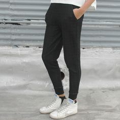$115 Quilted Grid Skinny Sweatpants