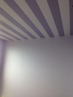 Ceiling in Zelda's Nursery! #ZeldaNursery #NurseryDesign #StripedCeiling #DIY